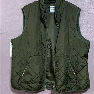 Plus Size Olive Quilted Vest with Gold Detail